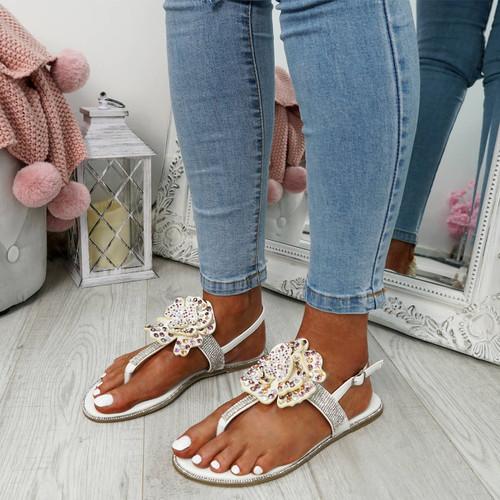 Zenda White Flower Stud Flat Sandals