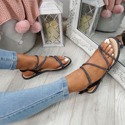 Stuggo Black Studded Sandals