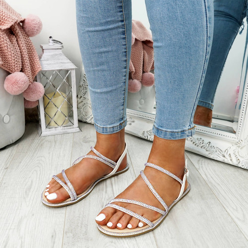 Stuggo White Studded Sandals