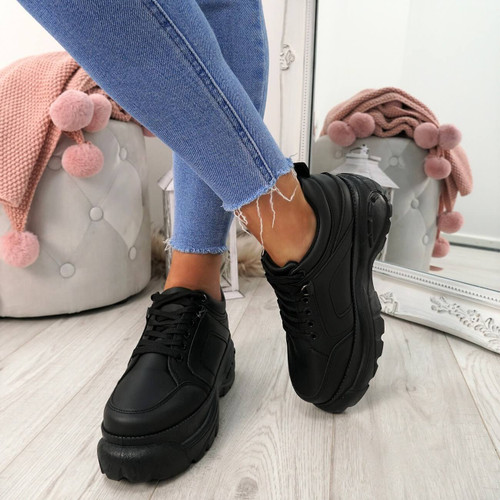 Fyno Black Chunky Trainers