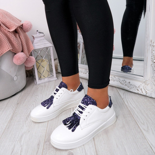 Nivve Navy Blue Glitter Trainers