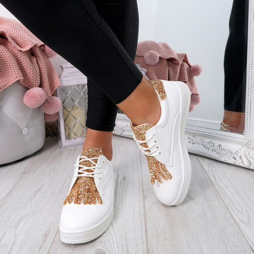 Nivve Gold Glitter Trainers