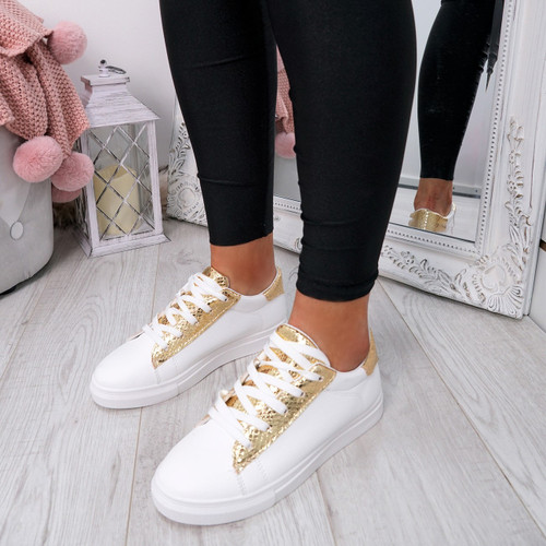 Niry Gold Snake Trainers