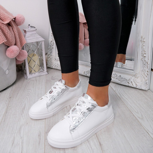 Niry Silver Snake Trainers