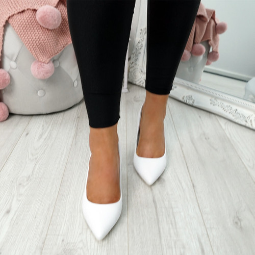 Banny White Court Pumps