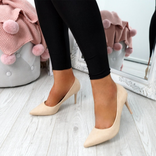 Banny Beige Suede Court Pumps