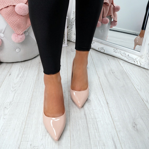 Banny Nude Patent Court Pumps
