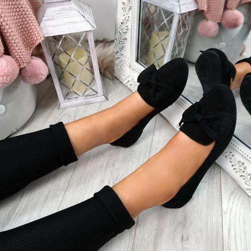 Legga Black Bow Ballerinas