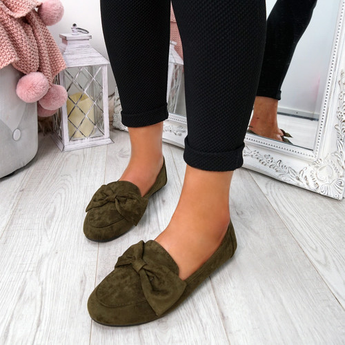 Legga Green Bow Ballerinas