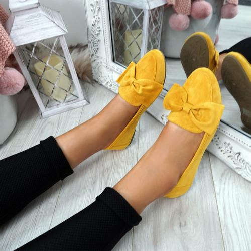Legga Yellow Bow Ballerinas
