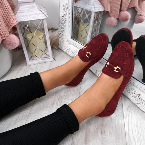 Enam Wine Buckle Ballerinas