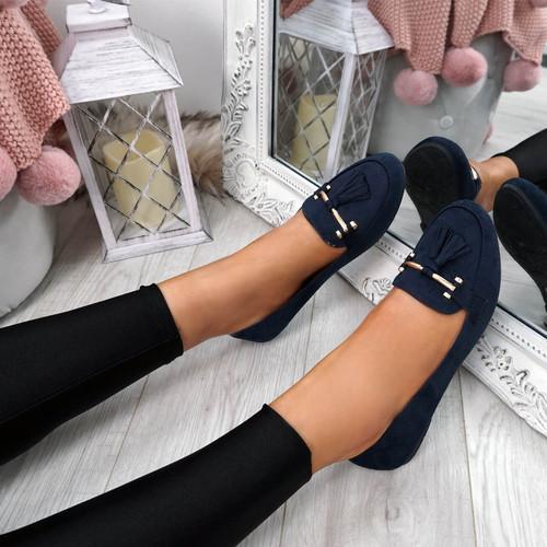 Lorra Blue Fringe Ballerinas