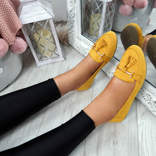 Lorra Yellow Fringe Ballerinas