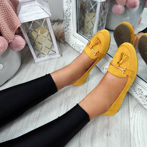 Lorra Yellow Fringe Ballerinas