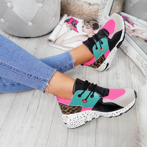 Syfa Fuchsia Lace Up Trainers