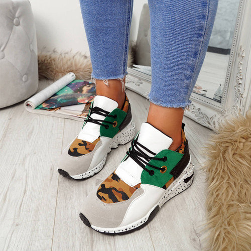 Syfa Green Lace Up Trainers