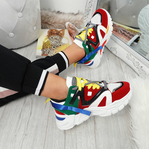 Bure Red Chunky Trainers