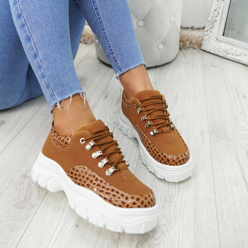 Imma Camel Snake Chunky Trainers