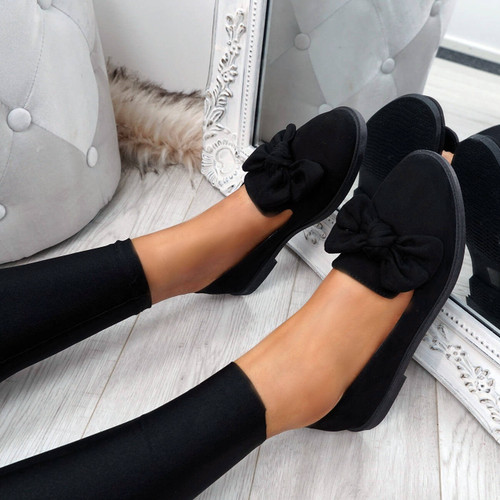Onty Black Bow Ballerinas