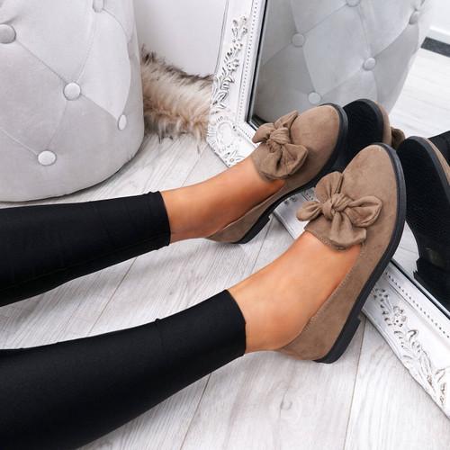 Onty Khaki Bow Ballerinas