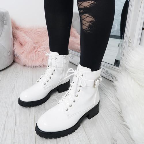 Nozia White Ankle Boots