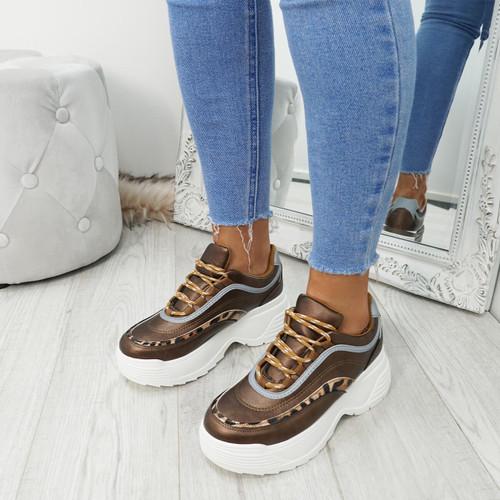 Gena Camel Pu Chunky Sneakers