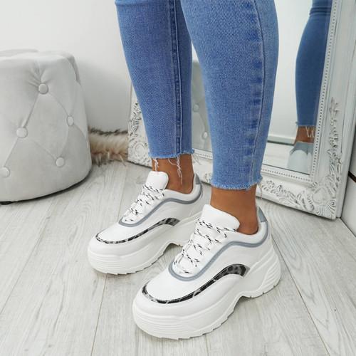 Gena White Pu Chunky Sneakers
