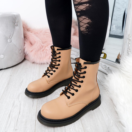 Doba Beige Combat Ankle Boots