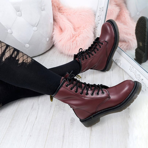 Doba Burgundy Combat Ankle Boots