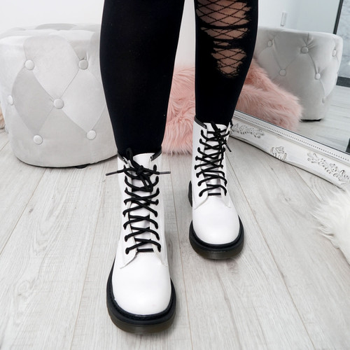 Doba White Combat Ankle Boots