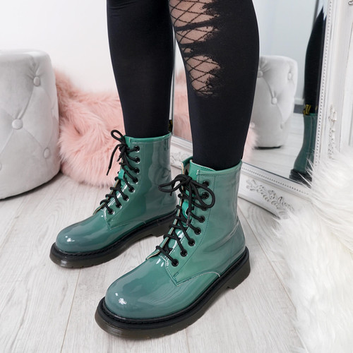 Seda Green Patent Ankle Boots