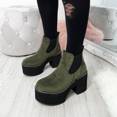 Hatta Army Green Chelsea Boots