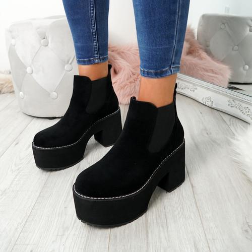 Hatta Black Platform Chelsea Boots