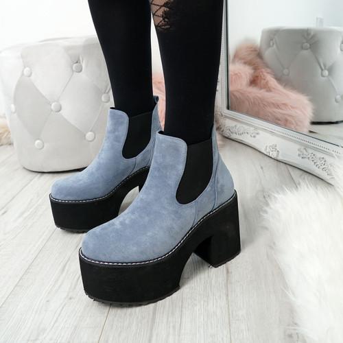 Hatta Blue Platform Chelsea Boots