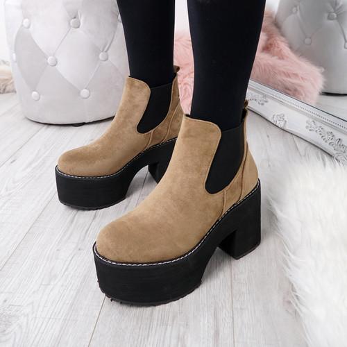 Hatta Khaki Platform Chelsea Boots