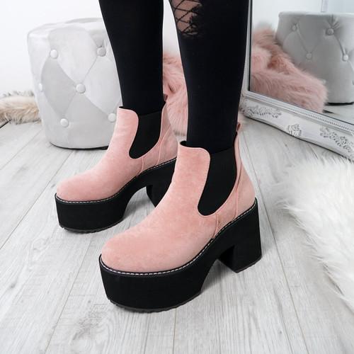 Hatta Pink Platform Chelsea Boots