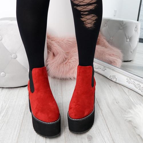Hatta Red Platform Chelsea Boots