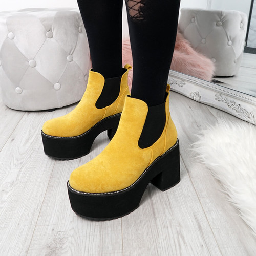 Hatta Yellow Platform Chelsea Boots