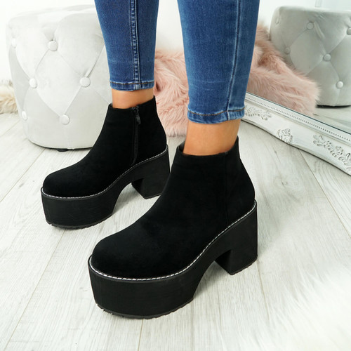 Garna Black Zip Ankle Boots