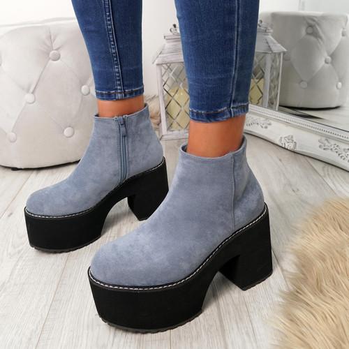 Garna Blue Zip Ankle Boots