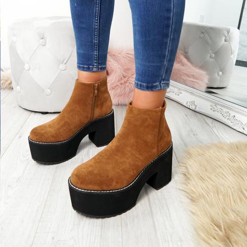 Garna Camel Zip Ankle Boots