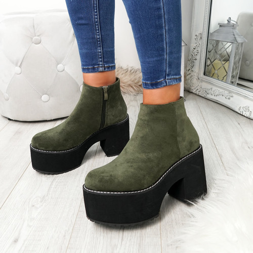 Garna Green Zip Ankle Boots