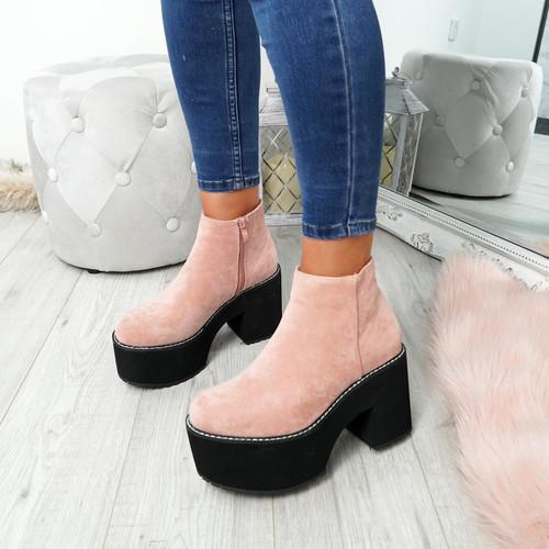 Garna Pink Zip Ankle Boots