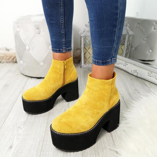 Garna Yellow Zip Ankle Boots
