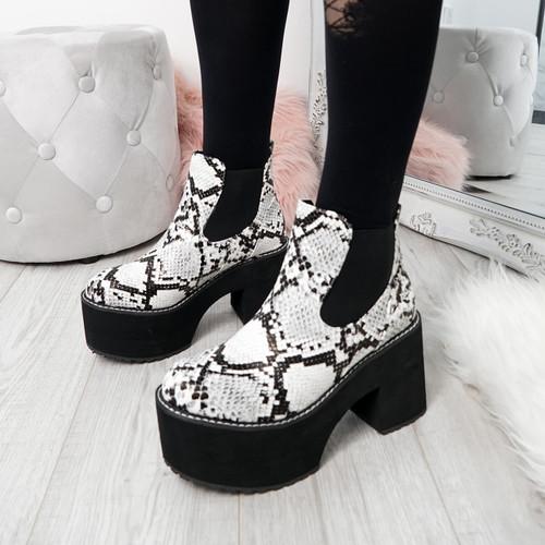 Sessa White Snake Slip On Boots