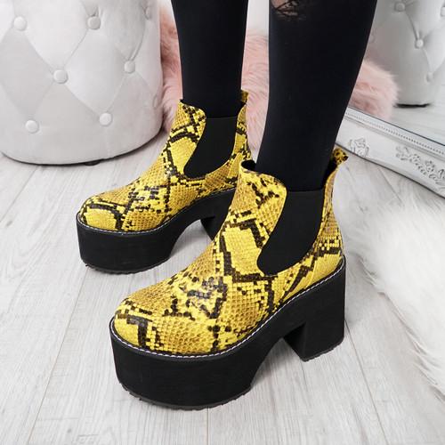 Sessa Yellow Snake Slip On Boots