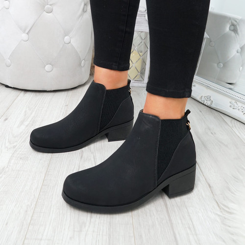 Finda Black Pu Chelsea Ankle Boots