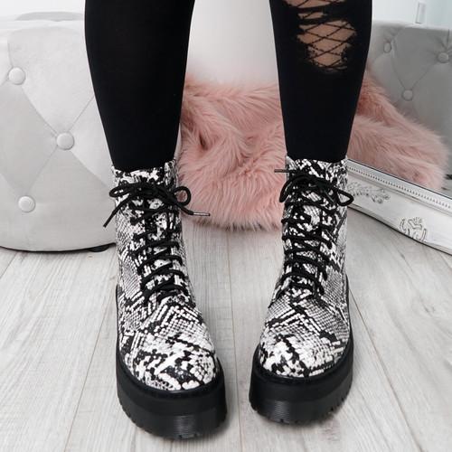 Benka Grey Snake Ankle Boots