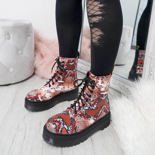 Benka Red Snake Ankle Boots