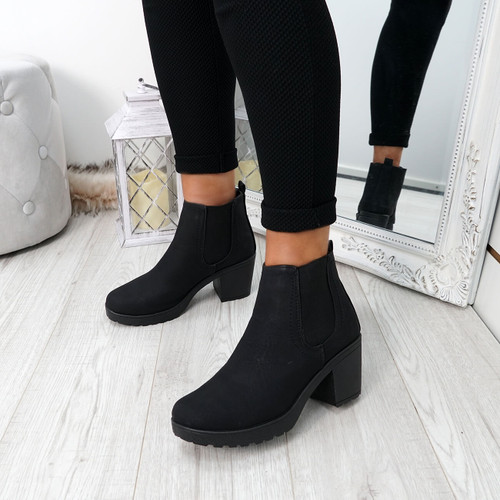 Zimka Black Pu Ankle Boots